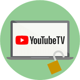 Logo YouTube TV na ekranie. Odblokuj YouTube TV z ExpressVPN