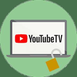 Logo YouTube TV sullo schermo. Sblocca YouTube TV con ExpressVPN