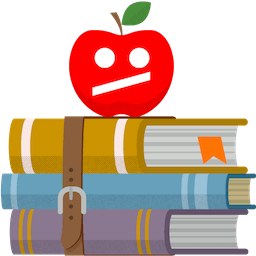 Rødt æble på bøger med utilfreds YouTube ansigt. Afbloker YouTube i skole med ExpressVPN