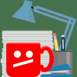 Rødt kontorkrus med utilfreds YouTube ansigt. Afbloker YouTube på arbejde med ExpressVPN