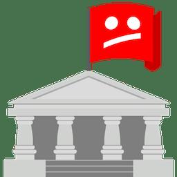 Rødt flag på bygning med utilfreds YouTube ansigt. Afbloker censureret YouTube med ExpressVPN