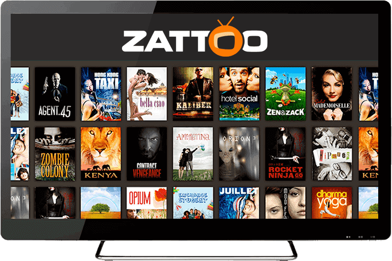 The Zattoo logo with shows and movies listed.