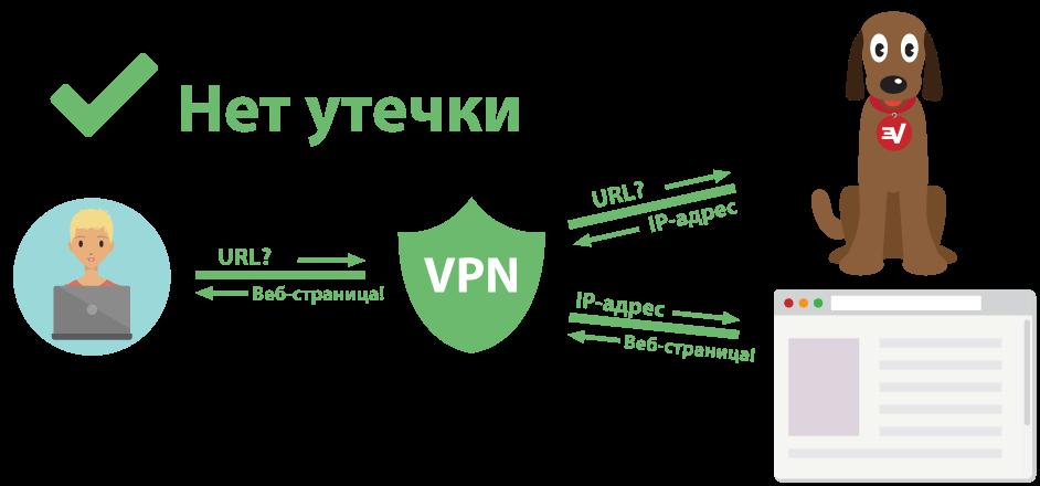 Диаграмма, на которой изображен пользователь VPN, защищенный от утечки DNS-запросов