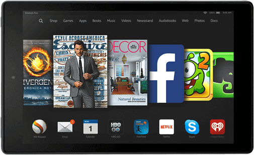 Kindle Fire menu with films, publications, social media and games.