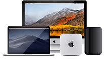 A group of Apple devices: iMac Pro, MacBook Pro, Mac Mini, Mac Pro