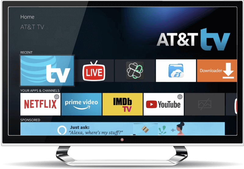 AT&T TV home screen on a smart TV
