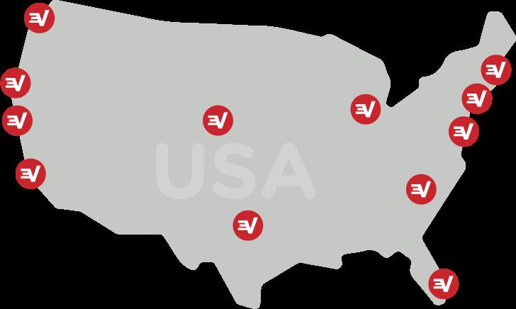 Mapa de los EE. UU. con ubicaciones de servidores de ExpressVPN.