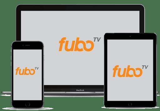 Una gama de dispositivos con el logo de fubo TV.