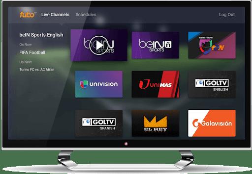 pantalla de inicio de fubo TV en un smart TV.