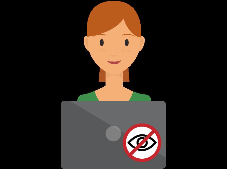 หญิงที่เรียกดูบนคอมพิวเตอร์โดยไม่ระบุตัวตน