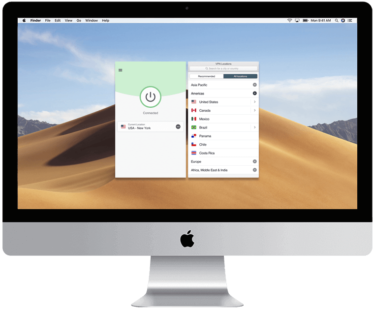 The ExpressVPN app for Mac