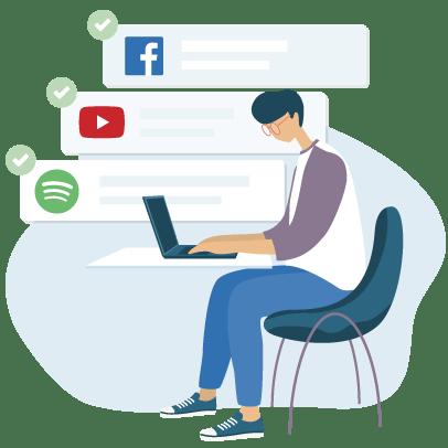 ใช้งาน Facebook, YouTube และ Spotify ที่โรงเรียน