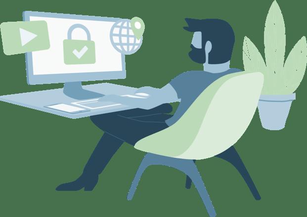 책상에 앉아 컨텐츠 차단 해제 및 위치 변경으로 안전하게 브라우징하는 VPN 사용자.