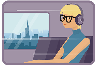 Togpassager passerer en bys skyline med hovedtelefoner i ørene
