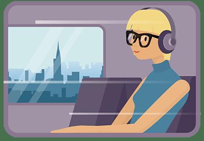 Pasajera de un tren pasando frente a un panorama urbano y con audífonos
