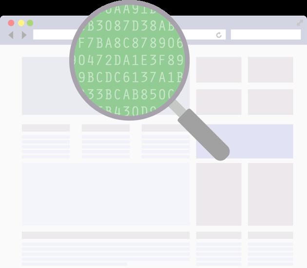 Uma lupa em uma página de código.