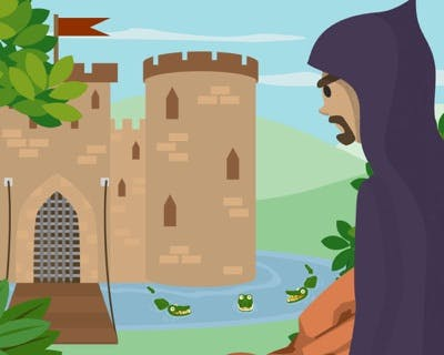 A potential thief sizes up a castle with high walls, steel gate, and a moat filled with crocodiles.