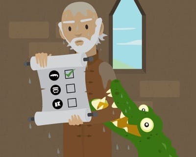 A castle inspector with a clipboard. He is dripping wet and a crocodile is still biting him.