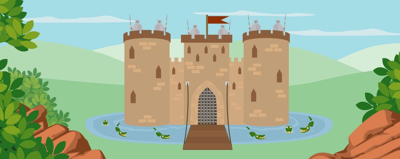a castle with high walls surrounded by a moat with crocodiles.
