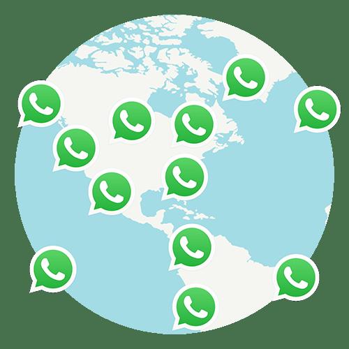 地球儀の周りで繋がるWhatsAppユーザー。