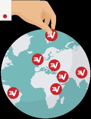 Ubicaciones de servidores de ExpressVPN en el mundo.
