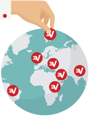 ExpressVPN-palvelinsijainteja ympäri maailmaa.