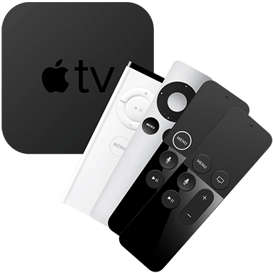 Console and remotes for all Apple TV generations.