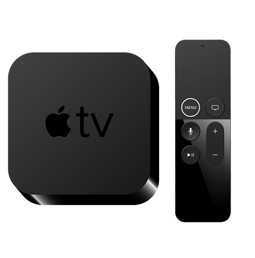 Een Apple TV en afstandsbediening.