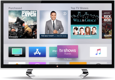 Apple TV home screen op een flat-screen TV.