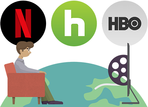 Access thousands of movies and TV shows on Netflix, Hulu, HBO, and more