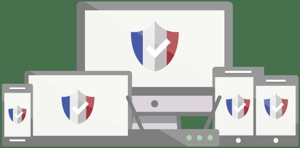 Degli scudi con la bandiera francese su computer, telefoni cellulari e altri dispositivi.