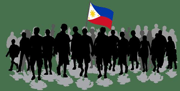 Un groupe de manifestants avec un drapeau philippin.