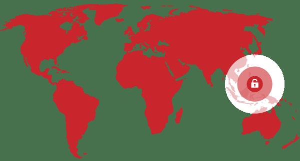 Débloquez les contenus des Philippines avec le meilleur proxy VPN : un cadenas ouvert sur une carte du monde.
