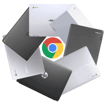 Group of Chromebooks made by different companies.