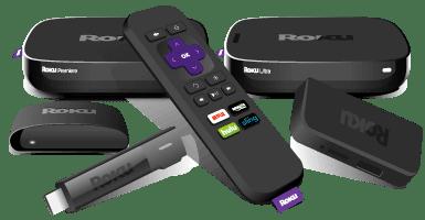 Various Roku models' consoles and remotes.