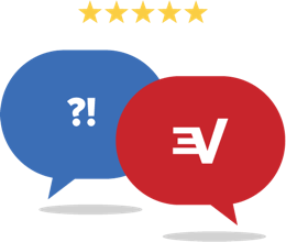 5-star customer support: Chat bubbles showing ?! and an ExpressVPN logo.
