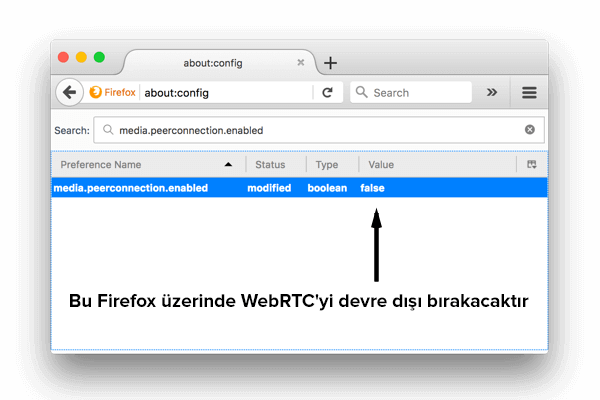 Masaüstü PC için Firefox'ta WebRTC nasıl devre dışı bırakılır